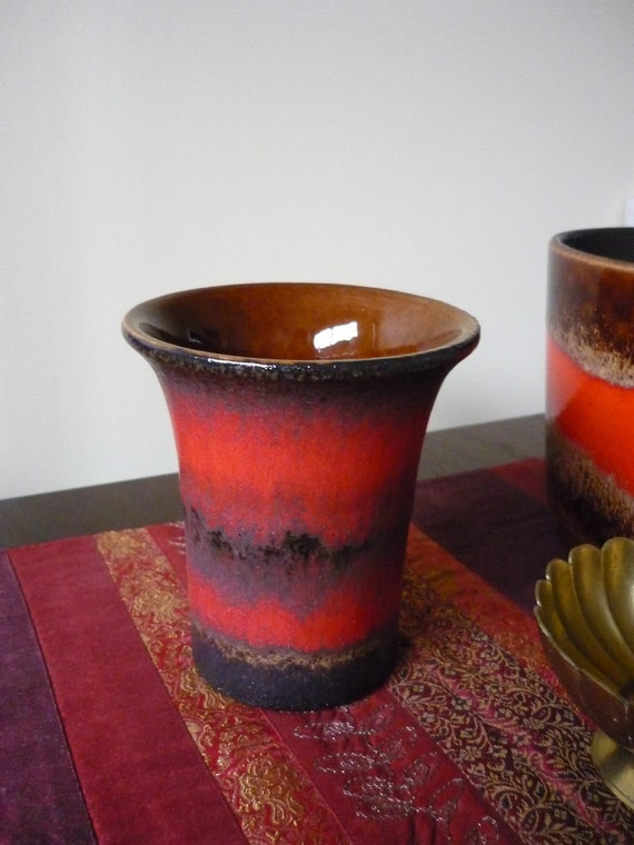 Mid Century Modern West German Pottery, Planter and Vase in Browns and Reds