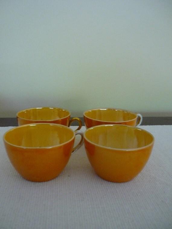 Vintage Czech Porcelain Espresso Cups with Shiny Orange Glaze, Set of 4 Coffee Cups