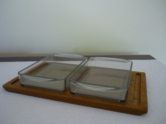 Vintage Mid Century Modern Teak Tray with Plastic Dish Inserts, Luthje Danish Modern Serving/Condiment Tray