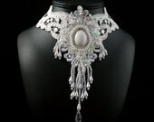 White Lace Bib Choker Necklace (Bridal, Wedding, sequins, long, prom, ball, victorian, costume, burlesque, statement)