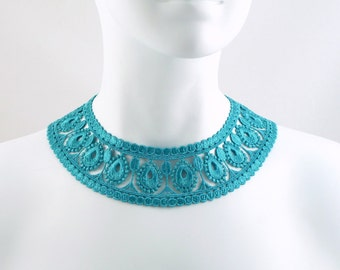 Turquoise Collar Choker Necklace - Fun & Colourful Lace, Perfect with a Summer Dress - Vintage Inspired Jewelry for Women - Romantic