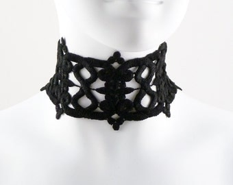 Black Lace Choker Necklace - Gothic, Goth, Medieval, Costume, Vamp, Vampire Chocker - Sexy Wide Fabric Jewelry for Women - Lingerie Fashion