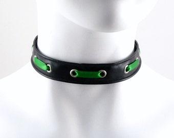 Black Grommet Choker Faux Leather Pvc Unisex - CHOOSE YOUR COLOR - Wild, Industrial, Cyber, Bondage, Punk, Goth
