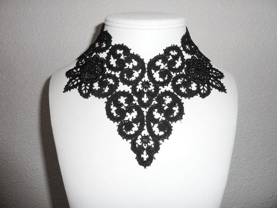 Black Roses Garden Choker Necklace Extreme Lace Bib in Floral Gothic Pattern - Dark Flowers Jewelry for Women