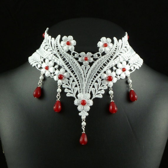 White Lace Choker Necklace with Red Rubies Gemstones Beads and Howlite Stones - Victorian Bridal Jewelry for Women - Fabric Bride Chocker