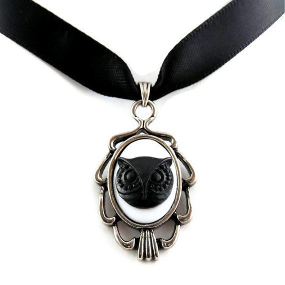 Black Owl Cameo Pendant with Satin Choker Necklace - Silver Plated Setting - Bird Head - Goth Steampunk Gothic Lolita Victorian