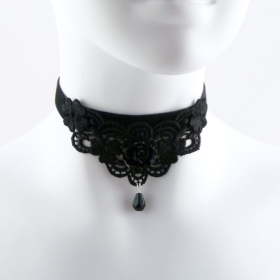 Black Velvet & Lace Choker Necklace with Rose Cabochon - Romantic, Lolita, Lingerie, Gothic, Goth, Chic, Mourning, Ball, Glamour, Glam
