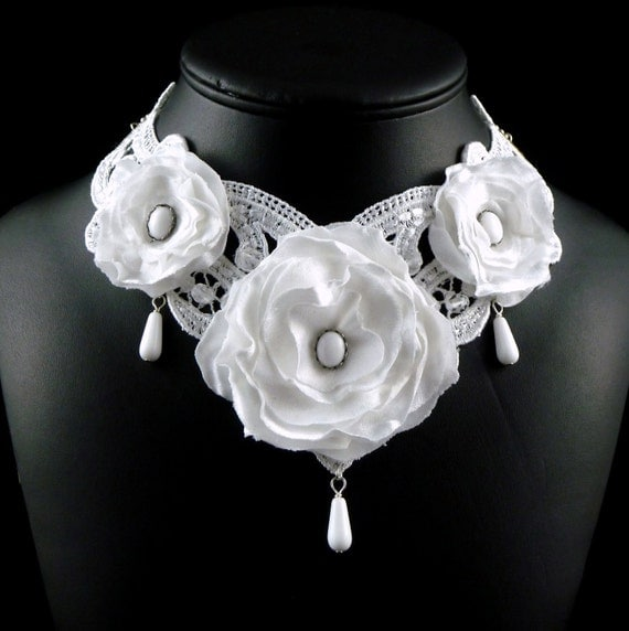 White Lace Bridal Choker Necklace - Victorian Inspired Bride Wedding Jewelry with Satin Flowers, Stones and Dangle Beads - OOAK