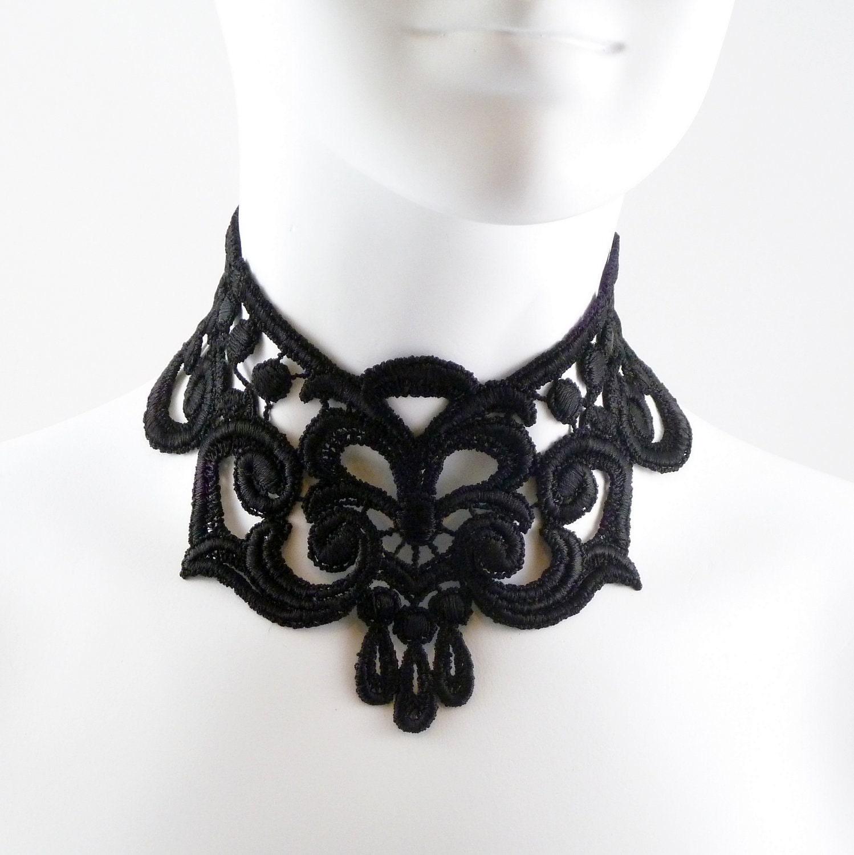 Intense Gothic Black Lace Choker Necklace Full Neck Large