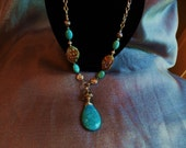 Turquoise pendant necklace with jasper, silver beads and dark silver plated chain...