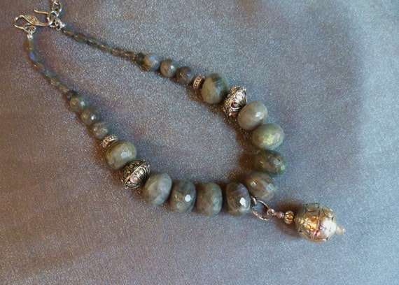 Tribal, chunky, beautiful labradorite necklace with large silver plated beads and silver pendant bead