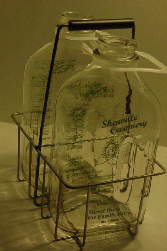 Shenville Creamery Glass Milk Bottles with Holder