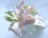 Wedding  fascinator corsage pin pastel  peach pink fashion style silk flower
