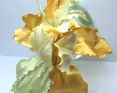 Wedding fascinator corsage brooch pin pastel yellow silk flower