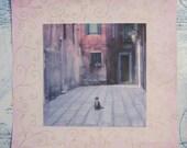 Mixed media photography, Venice, Italy, 6,5x6,5 - Venetian Cat, watercolour photoprint
