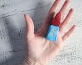 """Reserved for Nata - OOAK small house folk art house miniature house red and blue 2.8"""""""