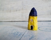 "OOAK small house folk art house miniature house 2"" yellow blue"