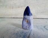 """OOAK small house folk art house miniature house 1.7"""" lilac blue"""