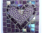 Valentines Day Purple Glass and Bead Heart Mosaic