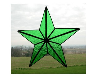 3D barn star in LIGHT GREEN stained glass