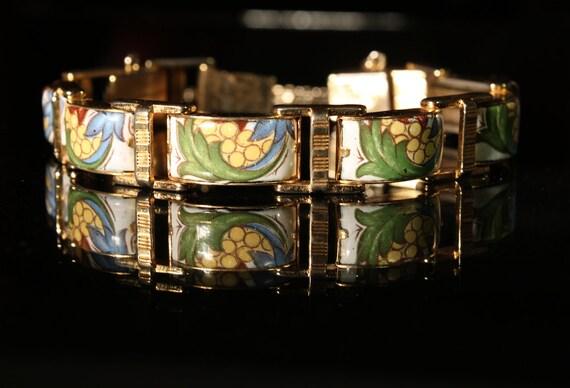 1940s  Retro Printed  Enameled Floral Links Bracelet signed