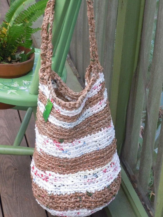 LARGE TOTE BAG recycled plastic bags - brown and white stripe shoulder bag