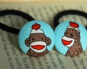 Sock Monkey Fabric Covered Button Hair Ties