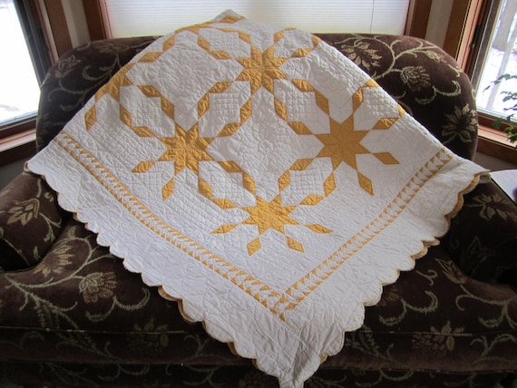 """Reversible Vintage Star Quilt  74"""" by 90"""""""