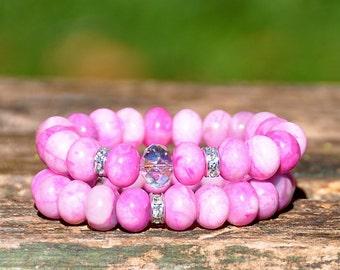 Valentine's Day Gift Ideas | Pink Gemstone Beaded Bracelet Set | FREE SHIPPING