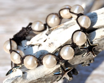 SALE Pearls and Macrame Bracelet with Silver Starfish Charm