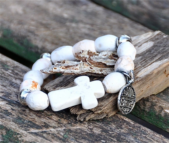 Natural Tibetan beaded bracelet with cross & coin accents