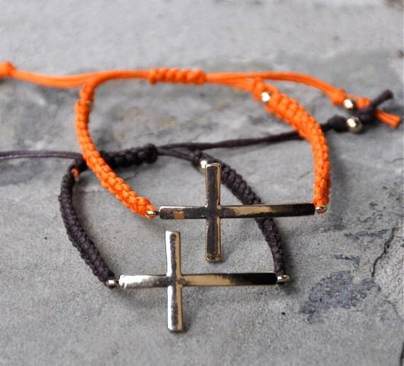 Orange Macrame sideways cross bracelet