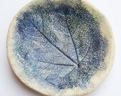 reserved for The Simple Things magazine small hand built ceramic plate with leaf impression