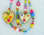 Fabric Necklace - Fun colorful wood and fabric hearts necklace