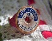 Vintage Spool Ring -Pink ooak