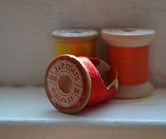 Vintage Spool Ring - Scarlet ooak