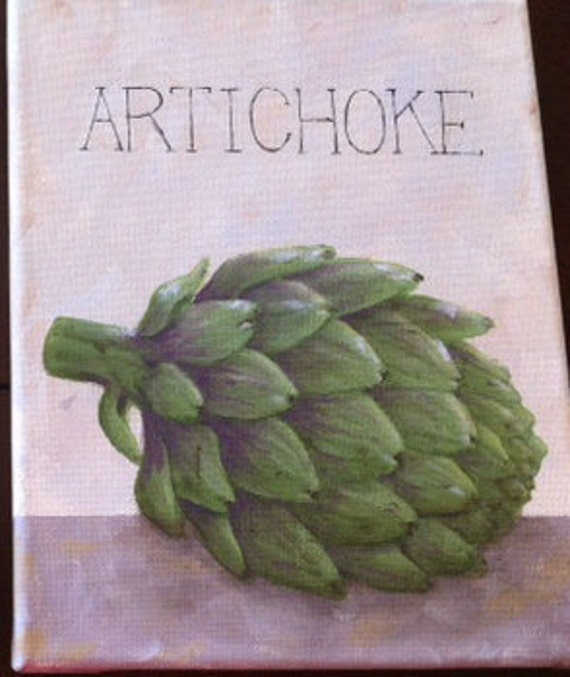 Hand Painted Artichoke on Canvas - Food Series