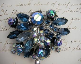 Vintage Aurora Borealis and Blue Navette Rhinestone Brooch Vintage Jewelry