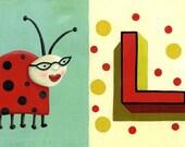 "Ladybug print for kids room - Nursery art illustration giclee - New baby gift L is for Ladybug 11"" x 17"""