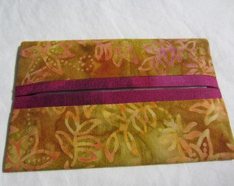 Gold Leaf with Pink Accent Pocket Tissue Holder