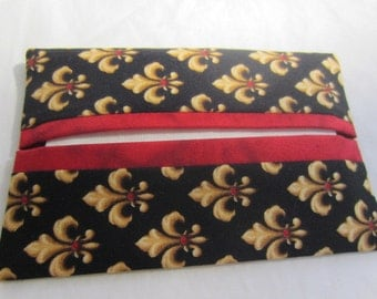 Fleur-di-lis Pocket Tissue Holder with Red Accent