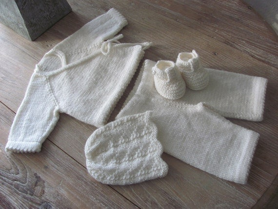 Alpaca Kimono Style Cardigan, Pant, Hat and T-Strap Bootie Set (0-3 months)///Free Shipping///