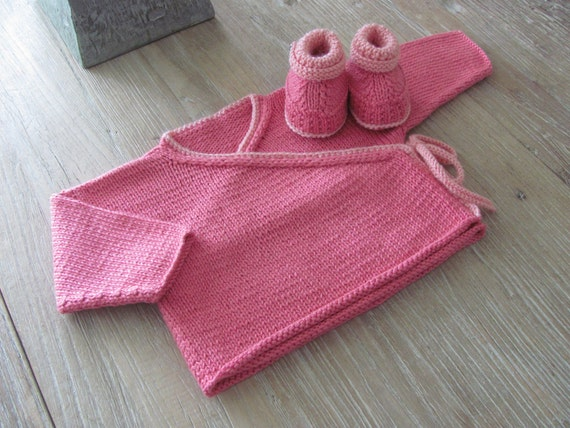 Pretty in Pink Hand Knit Pima Cotton Kimono-Style Cardigan and Bootie Set with Vintage Floral Buttons (3-6 months)///FREE SHIPPING///