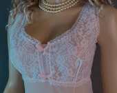 Pale pink nylon slip 1970s vintage as new  - (DP52)