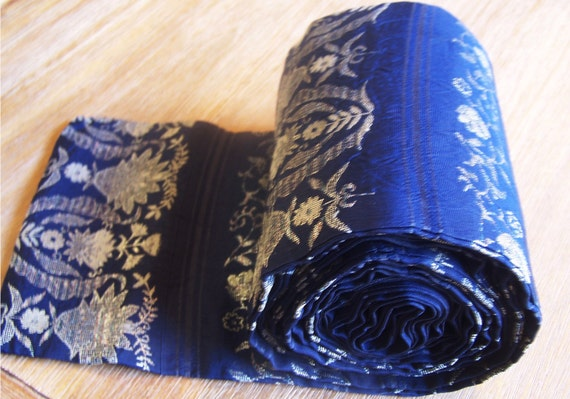 "Vintage Japanese Silk Jacquard Obi Navy Blue Belt Sash with Dull Silver Flowers for Home Decor, Clothing, Wall Hanging (6"" X 10')"