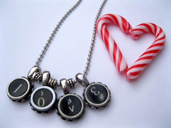 1940's Recycled Vintage L-O-V-E Love Typewriter Keys Ball Chain Necklace-Sweethearts-Unisex Jewelry