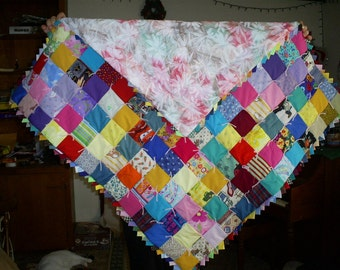 Patchwork Baby Quilt with pink and blue floral back-E-48