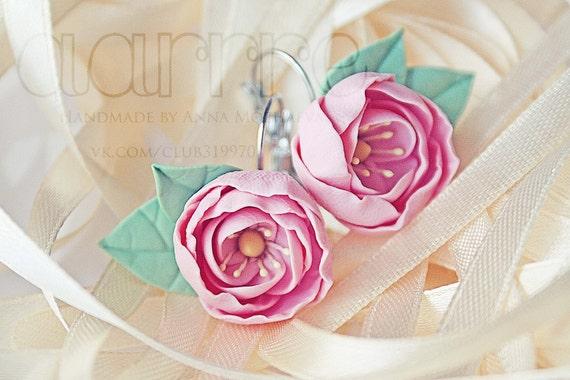 Floral earrings, flower 20 mm