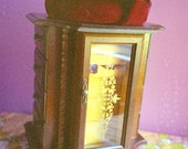 SALE Large 1960s Mustard Velvet, Glass, and Wood Jewelry Cabinet (was 48.00)