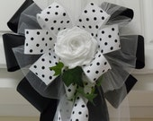 Handmade Black White Wedding Bow Polka Dots Wedding Church Pew Bow Arch Party Decoration